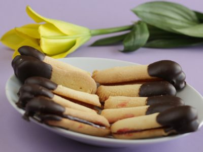 Polish shortbread cookie dipped in chocolate