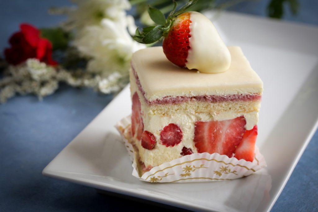 Slice of Fraisier Signature Cake